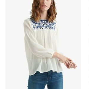 Lucky Brand Embroidered Peasant Top Plus Size 2X